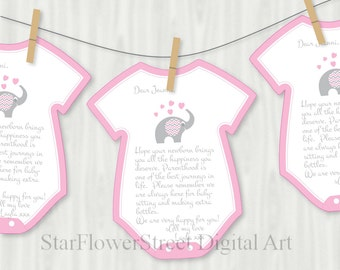 Elephant, Baby Shower, Decorations, Games, Advice, Printable, Cutouts, Wishes for Baby, Girl, Pink, gray, grey, one piece, bodysuit, cut out