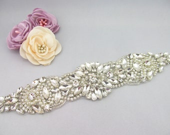 Rhinestone Applique Bridal Pearl And Beaded DIY Sash