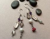 Romantic Assemblage Earrings, Labradorite Gray Grey, Moonstone, Pale Blue Pearls, Czech Pressed Glass Flowers, Vintage Rhinestone Prong Set