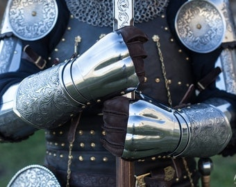 "20% DISCOUNT! Gauntlets ""Knight of Fortune""; Demi-Gauntlets; Medieval Gauntlets; Steel Gauntlets; Men's Gauntlets; Armor Gauntlets"