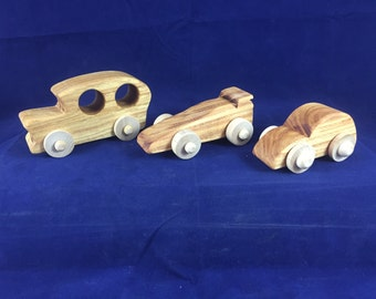 Wooden Cars (Set of 3)  Wooden Toys Beeswax Finished Solid Hardwood Toys #160719