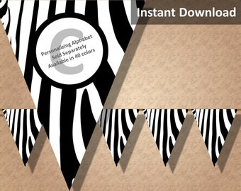 Zebra Print Bunting Pennant Banner, Jungle Safari Party Decorations, Animal Print, Baby Shower, Instant Download