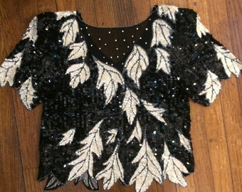 Sequin top black and white leaves rhinestone sheer neckline shoulder pads glamorous 80s shimmer top