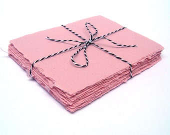 Pink handmade paper, recycled, deckle edge, 10 small sheets,  4.25 x 5.5 inch
