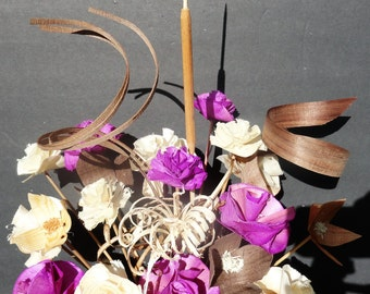 Handcarved Wood Flowers