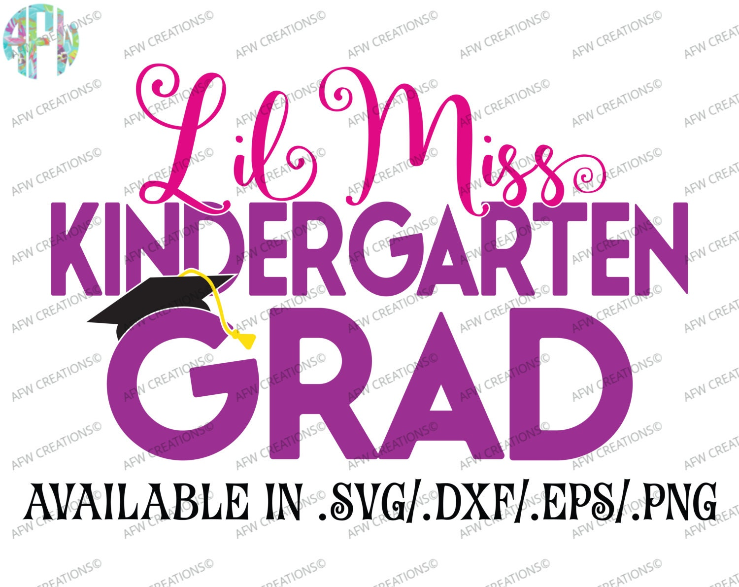 Digital Cut File, Lil Miss Kindergarten Grad, SVG, DXF ...