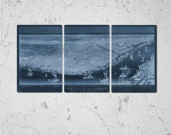 """Vintage New Orleans Blueprint METAL Map 48""""x24"""" Triptych FREE SHIPPING"""