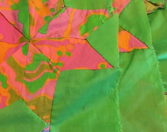 Retro colors bright quilt top hand pieced polyester fabric