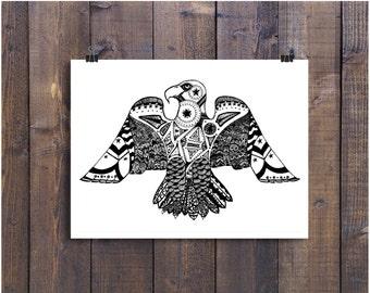 Eagle Art, Black and White Eagle, Eagle Drawing, Pen and Ink Eagle, 5 x 7 Eagle Print, 5 x 7 Art, Pattern Art, Bird Art , Eagle Drawing