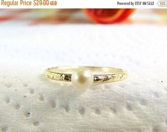 Sale - Pearl gold ring - Tiny pearl ring - Thin pearl ring - Fresh water pearl ring - Dainty pearl ring, (5.5)