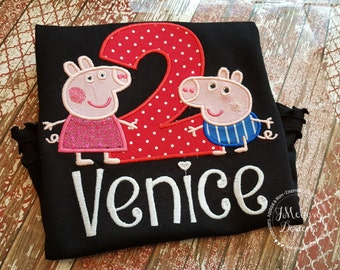 Peppa & George Pig Birthday - Embroidered Birthday Shirt - Customizable -  Infant to Youth 148