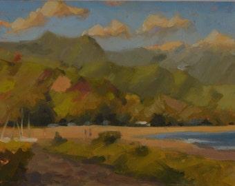 Kauai - Hawaii - Hanalei Bay - Island - Ocean - Seascape - Plein Air - Oil Painting - Mountains - Beach - North Shore