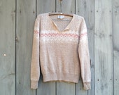 Vintage sweater | Pastel Fair Isle geometric knit wool Billie Jo pullover sweater
