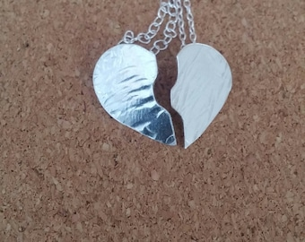 Broken heart necklace, Best friend gift, Personalize jewelry, Heart pendant