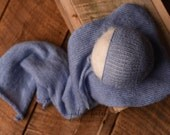 Newborn Angora Handknit Wrap with Bonnet,Newborn White Set,Newborn Girl\Boy Photo prop Set, Angora Newborn Photo Prop