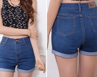 Cuffed high waist shorts/womens shorts/cuffed shorts/plus size/levis lee wrangler All Brands