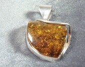 Sterling Silver Large Baltic Amber Pendant P109