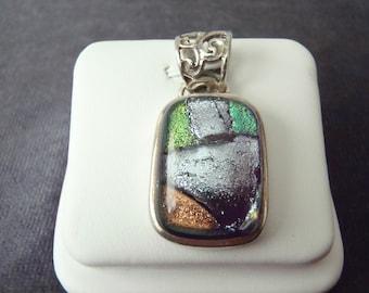 Sterling Silver Dichoric Glass Pendant P144