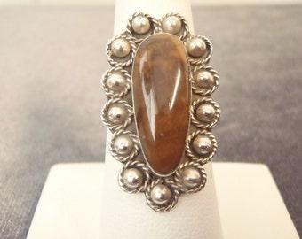 Sterling Silver Brown Jasper Ring Sz.7 1/4 R99