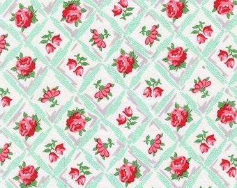 Sale Fabric - Rose Fabric - Cross Hatch Fabric - Aqua Fabric - Retro Florals - Michael Miller - Annette Aqua CX6853
