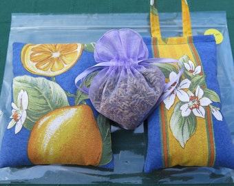 Lavender sachets. Set of 3 sachets.French Provence fabric.Unique gift !Choose your set! gift with heart gift for her. big lemons in blue.