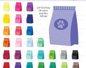 Bag of Dog Food or Cat Food Icon Digital Clipart in Rainbow Colors - Instant download PNG files
