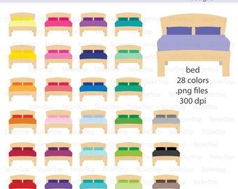 Bed or Make Your Bed Icon Digital Clipart in Rainbow Colors - Instant download PNG files