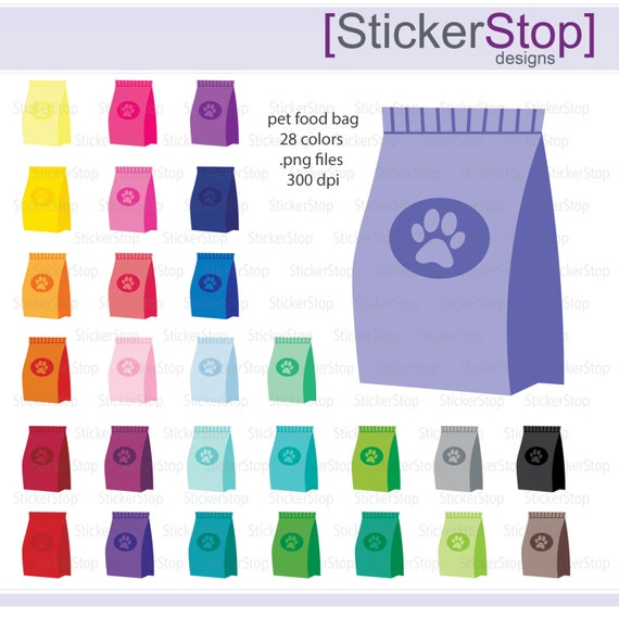 Bag of Dog Food or Cat Food Icon Digital Clipart in Rainbow