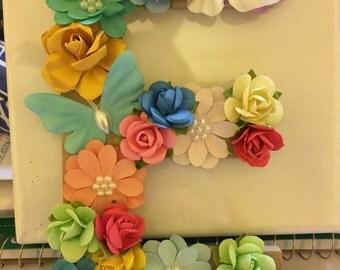 Multi-Colored Floral Letter 'E'