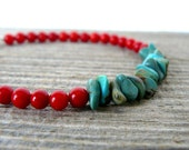 Turquoise and Coral Bracelet, Genuine Turquoise Bracelet, Turquoise and Bamboo Coral Southwestern Jewelry, Stacking Bracelet