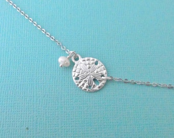 Silver sand dollar bracelet with freshwater pearl, Adjustable
