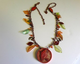 Owl and Vintage Lucite Leaf Necklace - Vintage Style