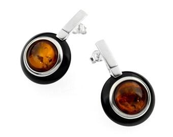 Cognac Baltic Amber Stud Earrings