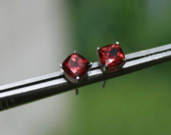 Red Garnet Earrings Cushion Cut Studs Rhodium Plated Sterling Silver
