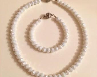 New !-Very Shiny White Crystal Stylish Necklace,Swarovsky Jewely,Trendy Jewelry Bright,Bridal Gift,Bridesmaid Jewelry,Wedding Jewelry