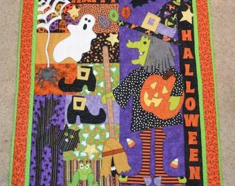 Happy Halloween Appliqued Throw Quilt