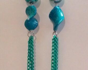 teal twirl earrings
