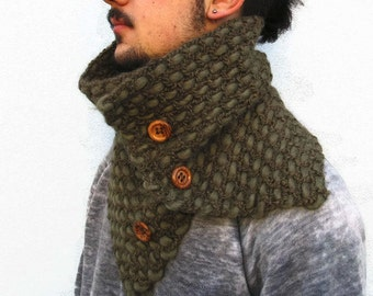 Neckwarmer Crochet scarf, scarf, men woman scarf, knitting scarf, crochet scarf with wooden buttons