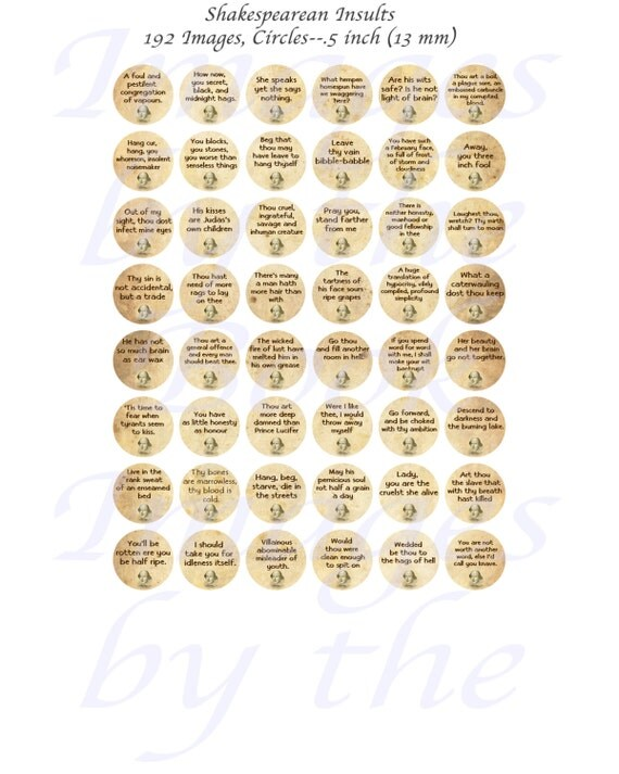 shakespearean insults printables one inch circles 25 mm with 1 2 inch 13mm and 3 4 inch. Black Bedroom Furniture Sets. Home Design Ideas