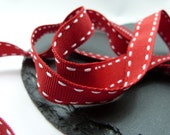 Red With White Stitch Grosgrain Ribbon 15mm Berisfords
