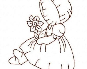Sunbonnet Sue flower redwork 4 inch machine embroidery design instant download