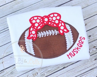 Girls Football Shirt - Football Bow Shirt - Girls Huskers Shirt - Husker Football Shirt - Sister Football Shirt