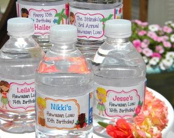 Hawaiian Luau Water Bottle Labels - Personalized Hawaiian Luau Water Bottle Labels -  Hawaiian Luau Party Favors - Luau Decor - Tropical
