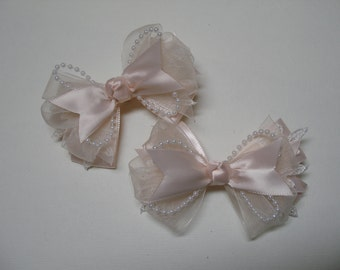 Petite Little 3 inch Satin & Lace Hair Bow Elegant Wedding Flower Girl Communion Pageant Dressy Fancy Special Occassion