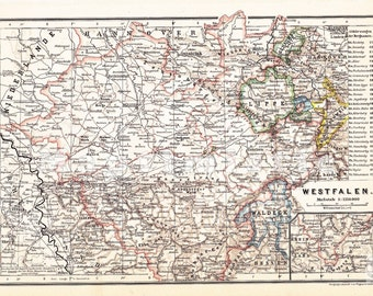 1893 Region of Westphalia or Westfalen and Württemberg, Prussia at the end of the 19th Century Antique Political Map