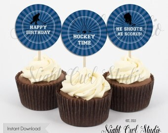 Hockey Cupcake Toppers-Hockey Birthday-Hockey Party-Hockey Time-Printable-Instant Download