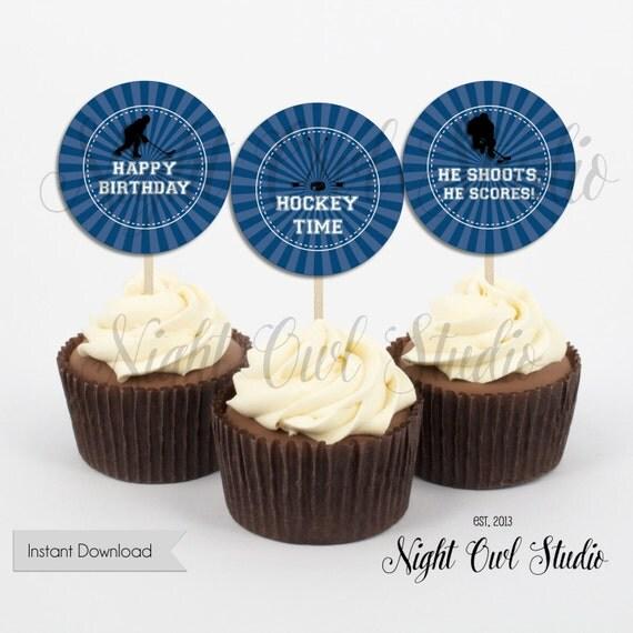 Cupcake Toppers-Hockey Birthday-Hockey Party-Hockey Time-Printable ...