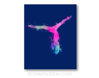 Watercolor Gymnast Canvas or Art Print, Girl's Room Art, Choose Any Colors, Gift for Gymnast, Gymnastics Team or Coach, Canvas Art Print