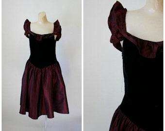 Sale Vintage Prom Dress / 1980's Prom Dress / Vintage Dress / 1980's Cranberry Dress USA Made S/M