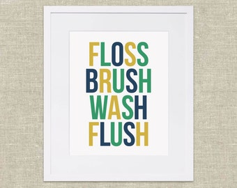 Instant Download Bathroom Wall Art – Floss, Brush, Wash, Flush in Gold, Navy, and Green